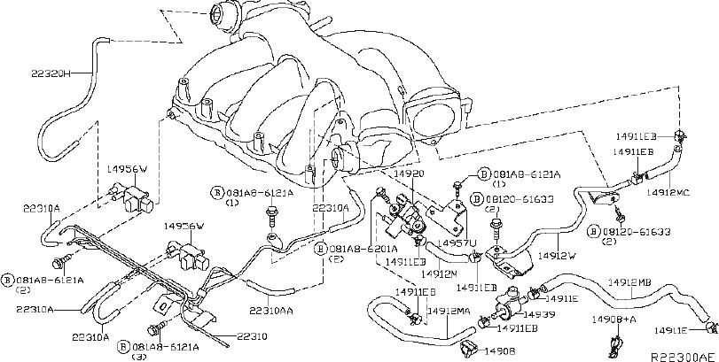 Nissan Maxima Hose Fuel Evaporation Control  Piping