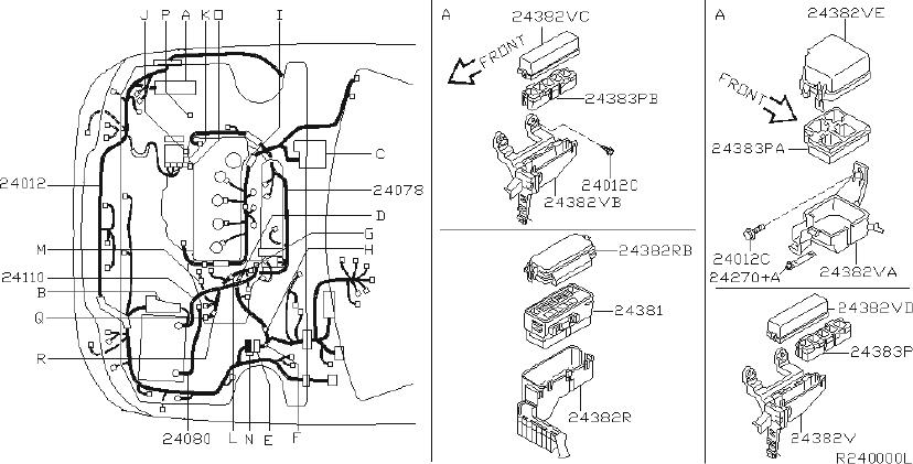 Nissan Sentra Engine Wiring Harness  Fitting  Body  Room
