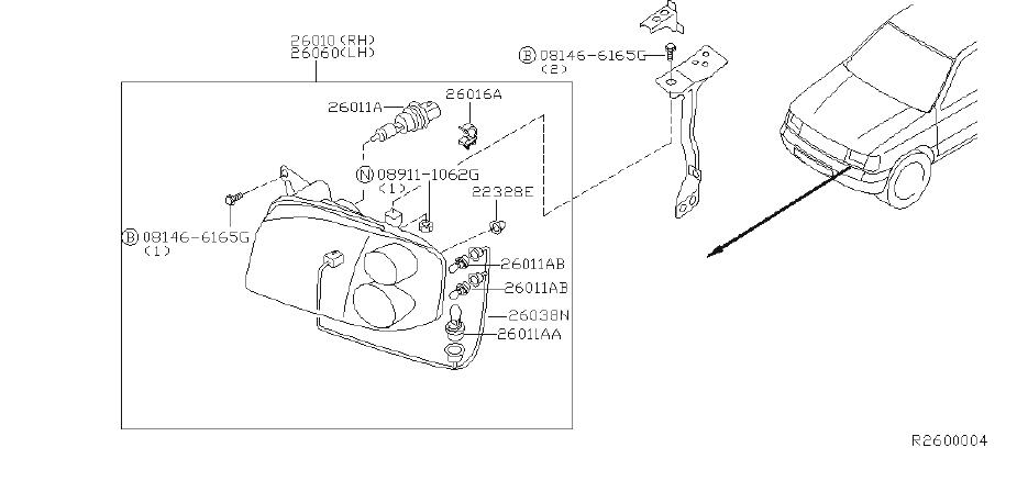 nissan frontier headlight wiring harness  system  headlamp