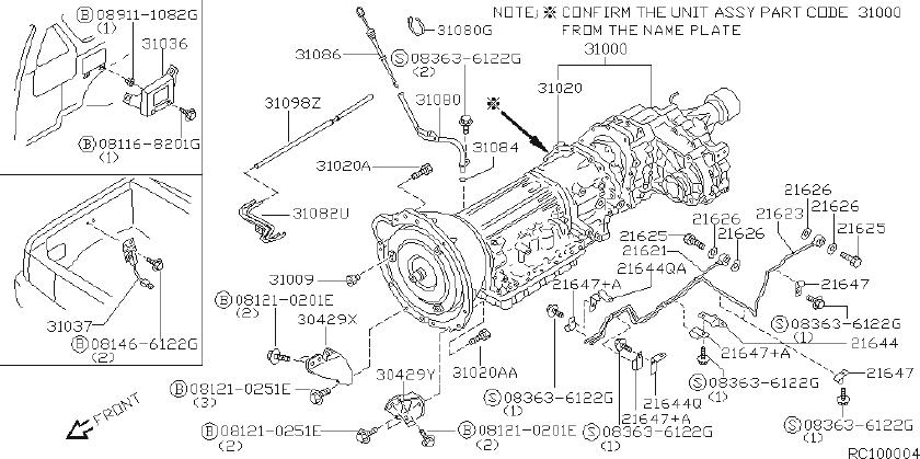 Nissan Frontier Gusset Transmission To Engine