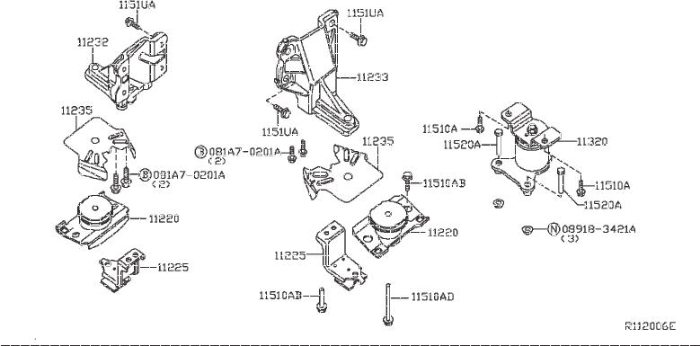 Nissan Frontier Engine Mount Bracket  Right   Bed