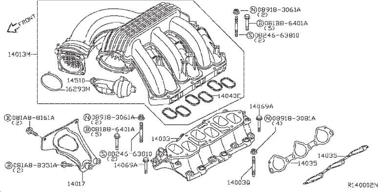 Nissan Frontier Engine Intake Manifold  Exhaust  Cover