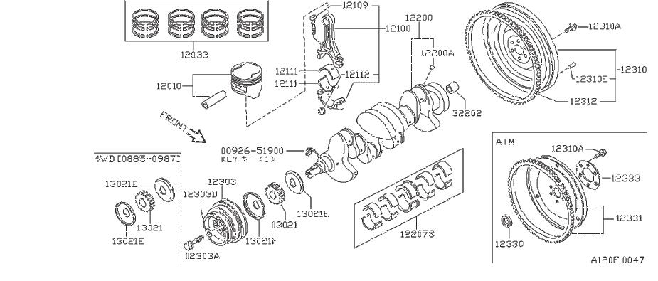 Nissan Stanza Clutch Flywheel Bolt  Crankshaft