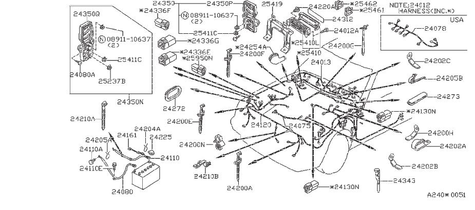 Nissan Frontier Clip Wiring Harness  Engine  Room  Fitting